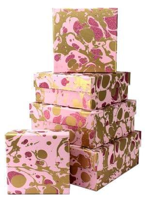 V34111 - Glitter Marble Rose Square Nest of 5 Boxes - GBXS215.100/10G 1/PK
