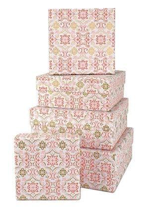 V34135 - Boho Tile Pink Squ Nest of 5 Boxes - GBXS258.00/10 1/PK