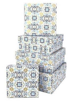 V34159 - Boho Tile Blue Square Nest of 5 Boxes - GBXS258.00/48 1/PK