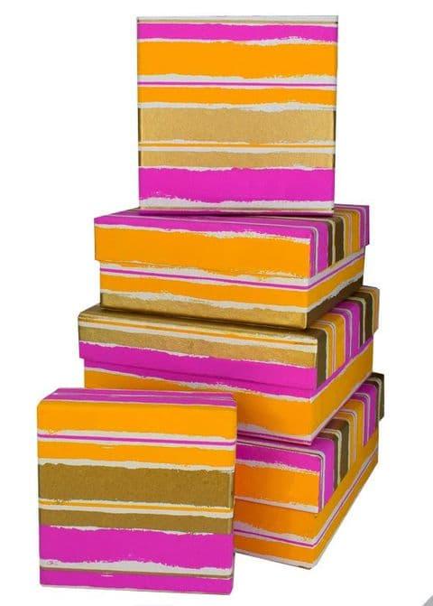 V35774 - Painterly Stripes Raspberry  Square Nest of 5 Boxes - GBXS276.00/17 1/PK
