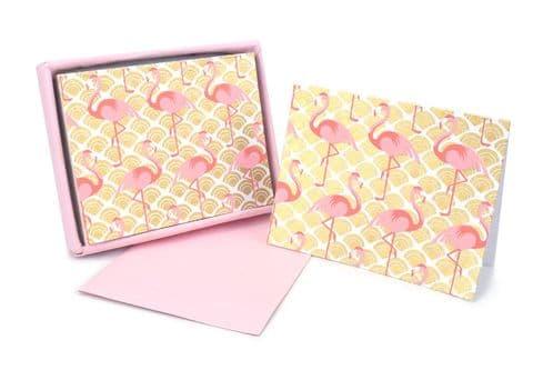 V42413 - Flamingo Teaberry Note Cards s/8 6/PK