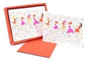 V42468 - Dancing Girls Raspberry Note Cards s/8 6/PK
