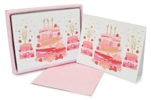 V42475 - Birthday Cakes Pink Note Cards s/8 6/PK