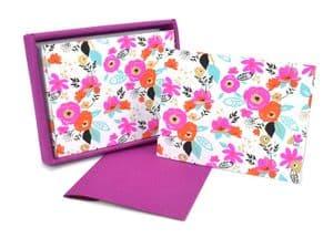 V42505 - Cote d'Azur Floral Raspberry Note Cards s/8 6/PK