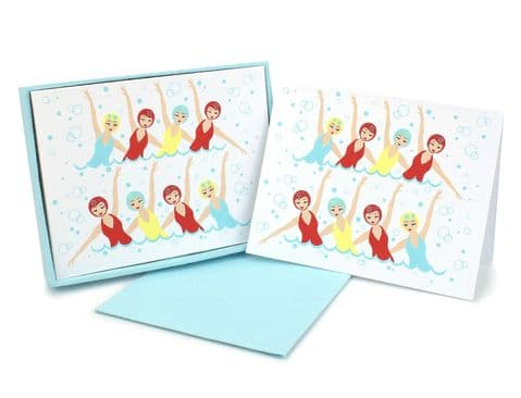 V42512 - Swimmers Mint Note Cards s/8 6/PK