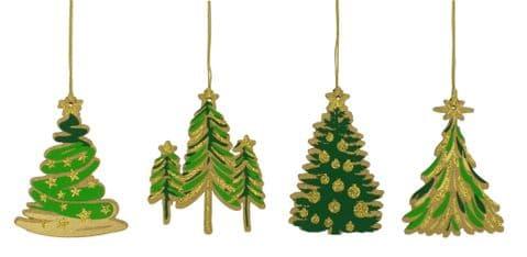 V44202 - Laser Cut Christmas Tree Topper Set of 4 6/PK