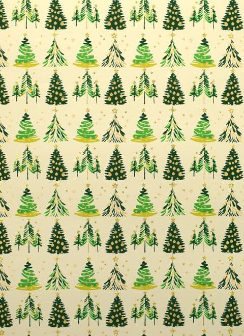V44516 - Xmas Trees Green Wrap 10/PK