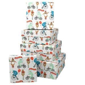 V46008 - Happy Bearday Square Nest of 5 Gift Boxes 1/PK