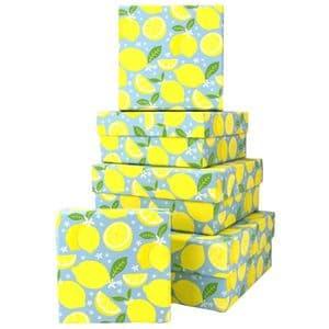 V46053 - Lemons Square Nest of 5 Gift Boxes 1/PK