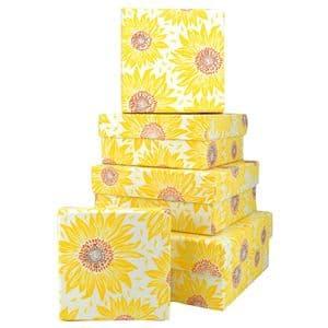 V46107 - Sunflowers Square Nest of 5 Gift Boxes 1/PK