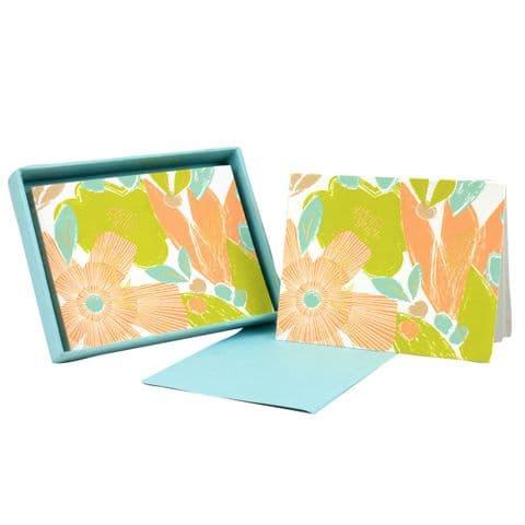 V46299 - Textured Floral Note Cards Set of 8 6/PK