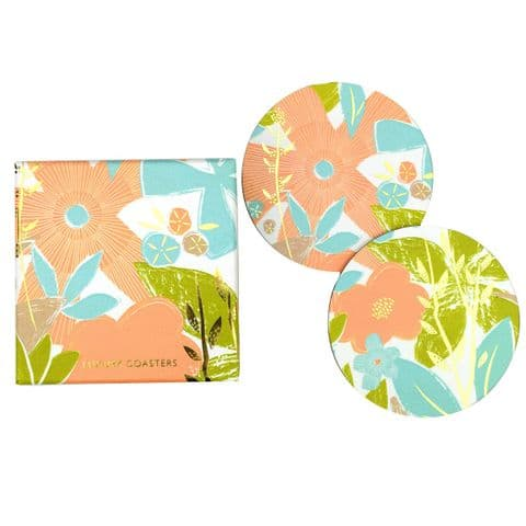 V46534 - Textured Floral Coasters S/8 4/PK