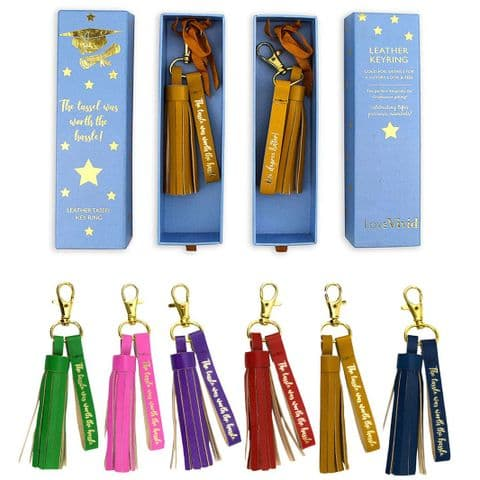 V46756 - Tassel Leather Key Ring 6/PK
