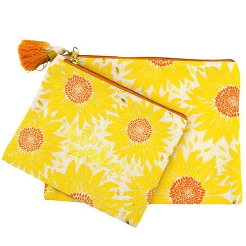 V46831 - Sunflower Canvas Pouch S/2 4/PK