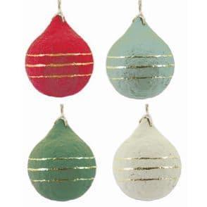 V48156 - Paper Mache Round Ornaments Set of 4 4/PK