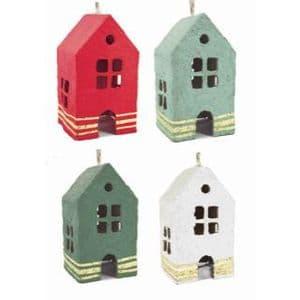 V48163 - Paper Mache House Ornaments set of 4 4/PK