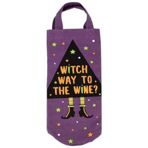 V48194 - Canvas Witch Way To the Wine Bottle bag 6/PK
