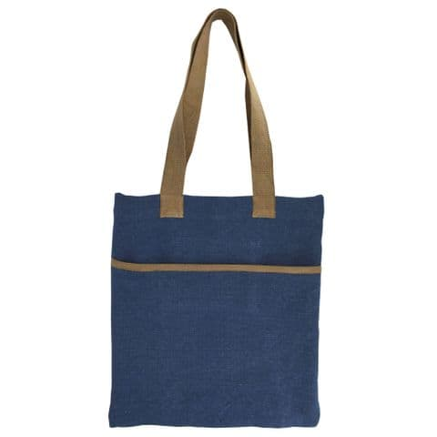 V48248 - Washed Jute Denim Blue Market Bag 4/PK