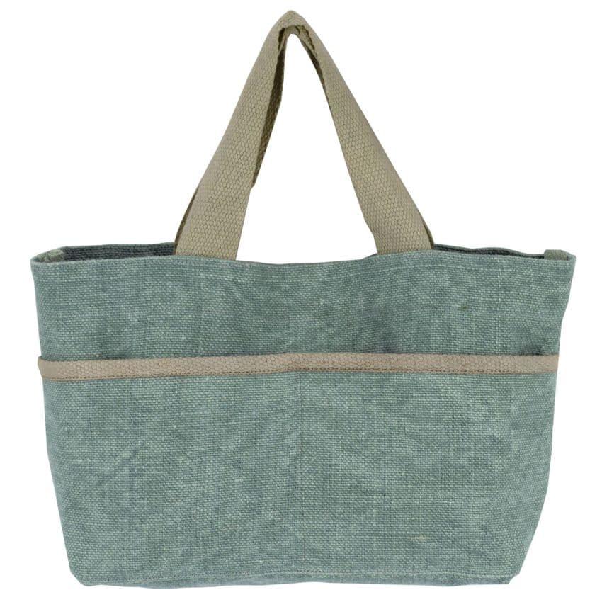 V48262 - Washed Jute  Blue Grab & Go Tote Bag 4/PK