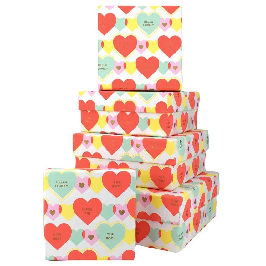 V46152 - You Rock Square Nest of 5 Gift Boxes 1/PK