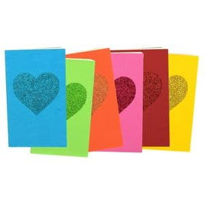 V46404 - Glitter Heart Rainbow Paper Journal S/6 4/PK