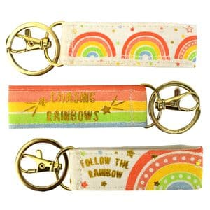 V48811 - Rainbow Canvas Key Ring 6/PK