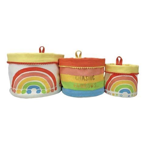V48842 - Rainbow Canvas Storage Pots S/3 4/PK