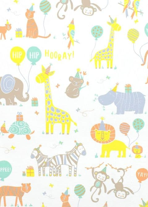 V48866 - Baby Party Animals Roll Wrap 10/PK