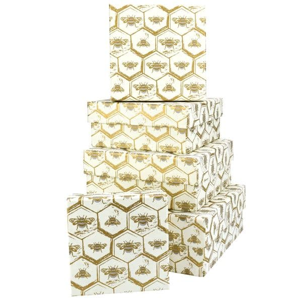 V49245 - Bees Sq Nest of 5 Gift Boxes 1/PK