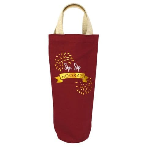 V49627 - Wine Time Finally' Washed Canvas  Bottle Tote - CBB438.25 6PK