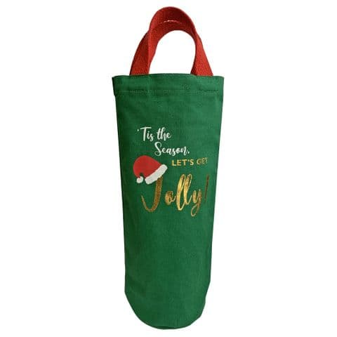 V49641 - Let's Get Jolly' Washed Canvas Bottle Tote - CBB440.65 6PK