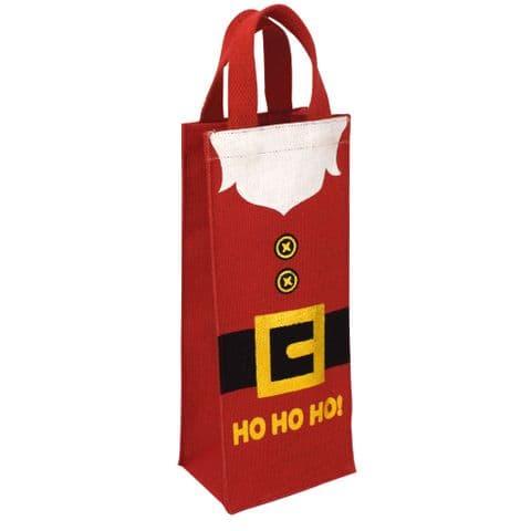 V49665 - HO HO HO!' Jute Bottle Tote - JBB442.20 6PK