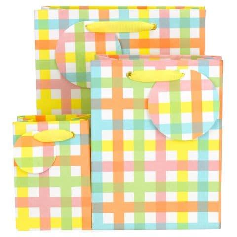 V51002, V51019, V51026 - Pastel Check Gift Bag & Tag - GBG474.00 10/PK