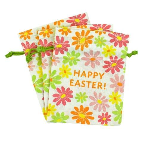 V51477 - Happy Easter Cotton Treat Bags S/3 - CEATREAT475 6/PK