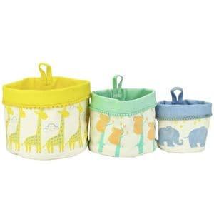 V51781 - Baby Animals Canvas Storage Pots S/3 - WCSP411 4/PK