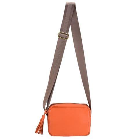 V51811 - Leather Crossbody Tote Orange - SLXBY.57 1/PK