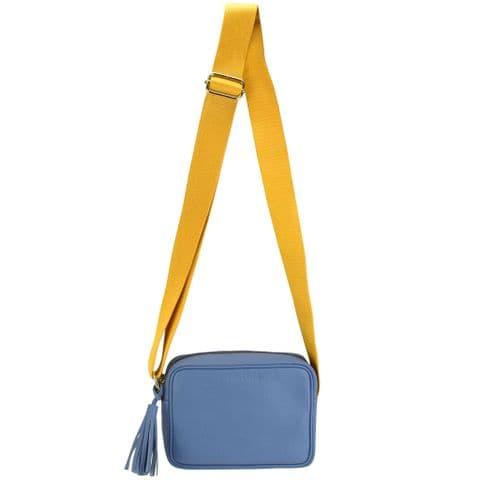 V51835 - Leather Crossbody Tote Cornflower Blue - SLXBY.49 1/PK