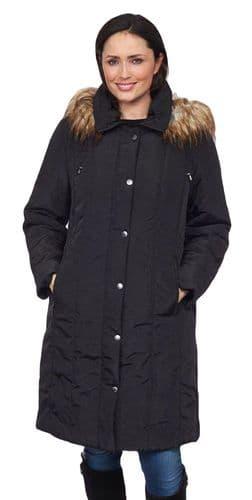 ❤️ Plus ❤️ Womens Long Black Padded Hooded Coat db3739