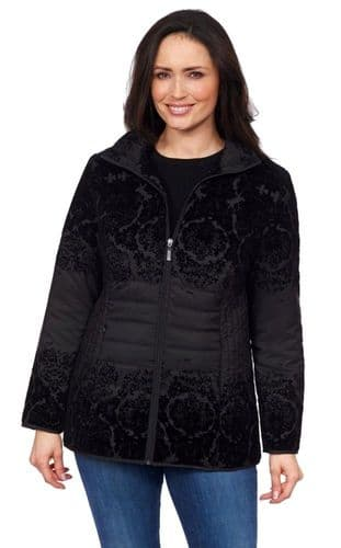 ❤️ Up to Plus ❤️ Womens Black Flock Pattern Quilted Jacket db221