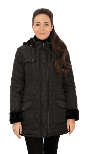 ❤️ Up to Plus ❤️ Womens Fleece Lined Hooded Quilted Black Coat db218