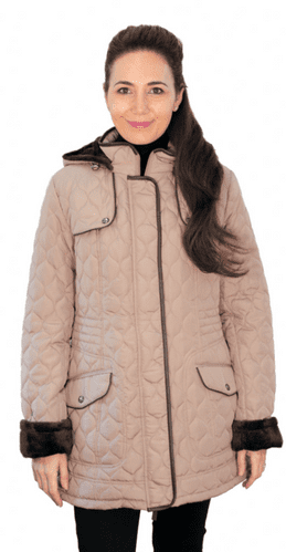 ❤️ Up to Plus ❤️ Womens Fleece Lined Hooded Quilted Camel Coat db218