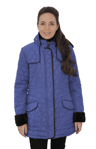 ❤️ Up to Plus ❤️ Womens Fleece Lined Hooded Quilted Cobalt Coat db218