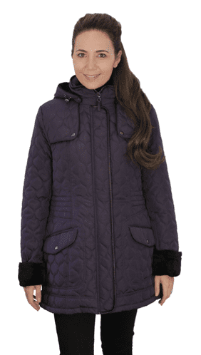 ❤️ Up to Plus ❤️ Womens Fleece Lined Hooded Quilted Purple Coat db218