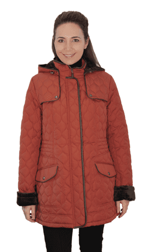 ❤️ Up to Plus ❤️ Womens Fleece Lined Hooded Quilted Rust Coat db218