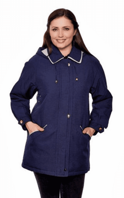 Ladies Hooded  Navy Rain Jacket db871
