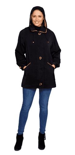 Ladies Long Hooded Black-Gold Rain Jacket db897