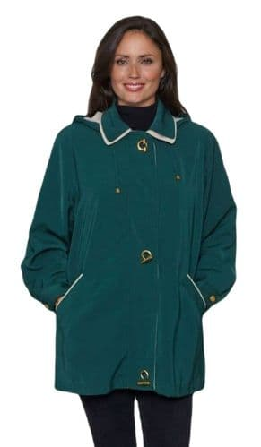 Ladies Long Hooded Bottle Green Rain Jacket db897