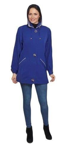 Ladies Long Hooded Cobalt Blue Rain Jacket db897