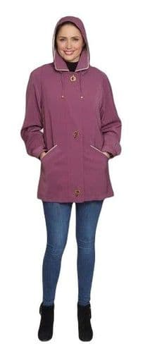 Ladies Long Hooded Heather Rain Jacket db897