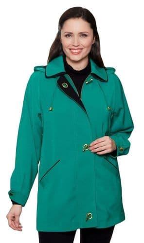 Ladies Long Hooded Jade Green Rain Jacket db897